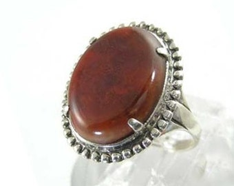 Vintage Sterling and Red Agate Ring - 1950s Sterling Silver Ring with Texas Flame Agate by Uncas - Size 7 3/4