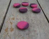Reclaimed wood magnets  Set of 6 - Hand Painted pink purple abstract