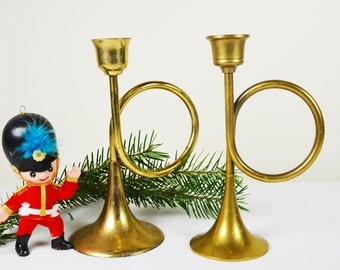 Brass Trumpet Candlestick Pair / Brass Christmas Candle Holders