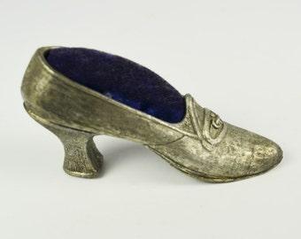 Vintage Shoe Pincushion by Florenza in Pewter