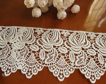 white lace fabric, crochet lace trim, retro bridal lace, scallop trim lace