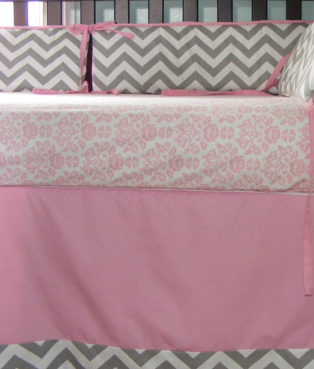 baby bedding baby pink and grey chevron by thepincushionstore. Black Bedroom Furniture Sets. Home Design Ideas