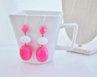 Neon Pink Earrings Hot Pink Dangle Earrings 80s Punk Retro Style