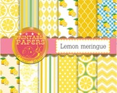 Lemon digital paper 'Lemon meringue' 12 zesty lemon backgrounds