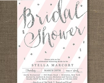 Silver Glitter Bridal Shower Invitation Pink & White Stripes Confetti Sprinkle Gray Modern FREE PRIORITY SHIPPING or DiY Printable - Stella