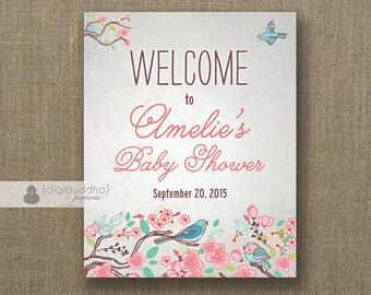 Little Bird Baby Shower Welcome Sign Pink Blue Birdie Baby Girl Buffet Food Table Sign Printable 8x10 DIY Digital or Printed - Amelie