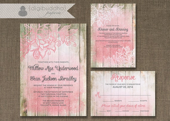 Ombre Wedding Invitation: Blush Pink Ombre Wood Wedding Invitation 3 Piece Suite