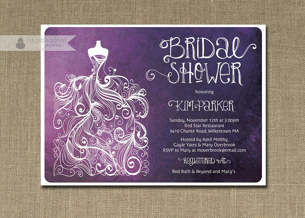 Wedding Shower Invitation: Plum Ombre Bridal Shower Invitation Purple & White Gown Shabby