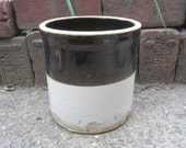 Antique Original Stoneware Crock Pottery Brown & White Fresh Farm Pick 1800s Old Pantry Cupboard Country Kitchen Primitive Rustic