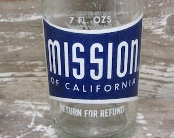 Vintage 1950s 1960s Era ACL Glass Bottle Blue White MISSION of California Wilmerding Pa Retro Soda Shop Car Hop Vintage Bottle