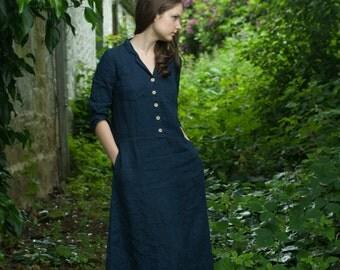 Long Work Linen Dress