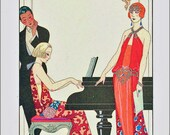 ART DECO PRINT From Original by Georges Barbier with Flapper and Couple at Piano