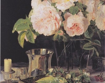 FINE ART PRINT Of Roses in Glass from 1838