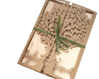 Laser Cut Rustic Tree Invitation with Real Wood and Kraft Card Stock, Gatefold Style