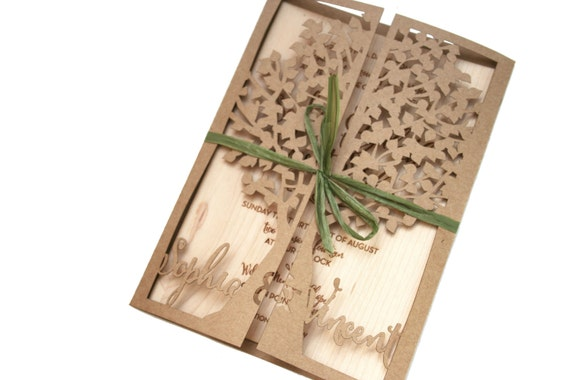 Laser Cut Tree Wedding Invitations: Laser Cut Rustic Tree Invitation With Real Wood And Kraft Card