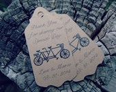 Tandem Bicycle Bike Wedding Favour Gift Tag Favor Thank You for Sharing Our Special Day Gift Tag Engagement Party Wedding Custom Colours