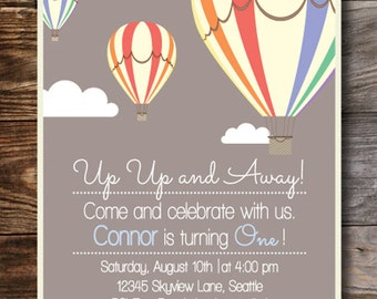 Up Up And Away Hot Air Ballon Invitation (You Print)