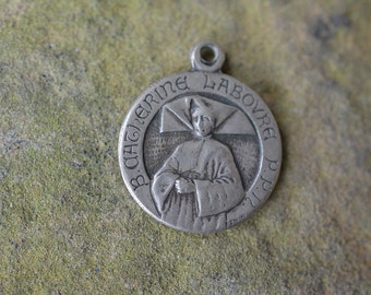 Antique Patron Saint medal, Catherine Laboure, Signed Penin medal, Catholic jewelry, Christian pendant,