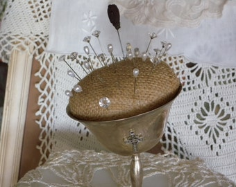 Vintage SilverPlate Goblet ~ Burlap Pin Cushion with CHAMPAGNE TOASTING Goblet CUP Repurposed Sewing Room Decor ~ Ring Bearer Pillow
