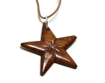 Star Necklace - Wooden Star Pendant - Handmade from Walnut Hardwood