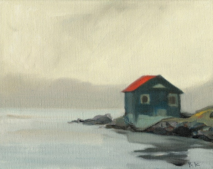 "Beach Decor  ""Lonely cottage "" Oil Painting by SEASTYLE"