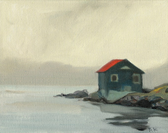 "Beach Decor  ""Lonely cottage "" Oil Painting by SEASTYLE FREE SHIPPING"
