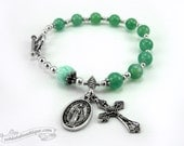 Green Flower Rosary bracelet, Catholic Jewelry, single decade rosary, Miraculous medal, Confirmation gift, catholic rosaries, green chaplet