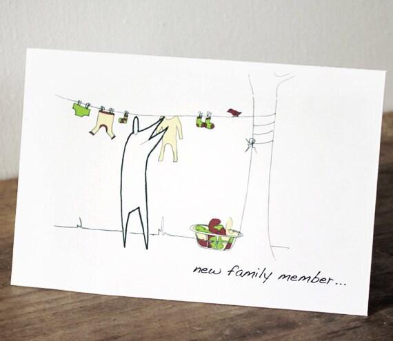 New baby greeting card, washing line - (Anonymity range)