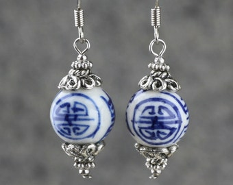Asian Chinese handpainted blue ceramic Drop Earrings Bridesmaids gifts Free US Shipping handmade Anni designs