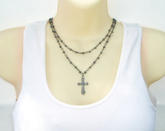Rosary Style Double Strand Beaded Cross Necklace - Stylish Goth Double Chain Black Beaded Christian Choker