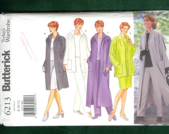 Butterick 6213 Misses' Loose Fitting, Unlined Jacket, or Duster With Dolman Sleeves, Top, Skirt and  Pants, Sizes 8, 10, 12, UNCUT