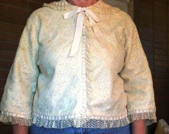 Vintage Ecru Lace and Blue Silk Bed Jacket Size Small