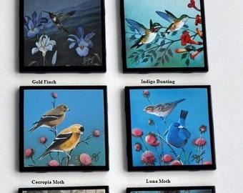 Pick 4 - Black Ceramic Tile Coasters Handmade Songbirds, Moths, Hummingbirds Wildlife Art