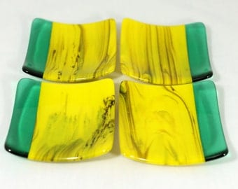 Green and Yellow Streaky Fused Glass Coasters (Set of 4)