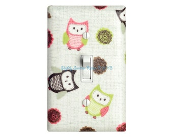 Owl Light Switch Plate Cover / Baby Girl Nursery Decor / Kids Room / Pink Green Brown Switchplate