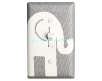 Elephant Nursery Decor / Gray and White Light Switch Plate / Baby Gender Neutral / Girl or Boy Ele Premier Prints Storm Grey