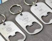 Superhero Keychain, Bottle Opener Key Chain, Personalized Keychain, Superhero Gift, Groomsmen Gift, Superhero Wedding, Geek Wedding Party