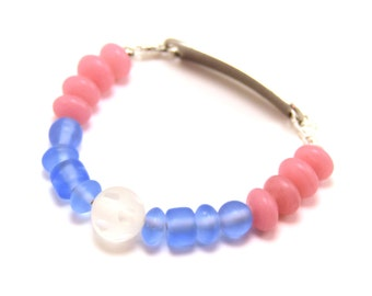 Pink and Blue Moon Stretchy Medical Bracelet Attachment
