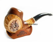 """New Pipe Set - Carved """"Dragon"""" Pipe & Rest, Wooden pipe. Tobacco Pipe Exclusive Design For pipe Smoker """"METAL DRAGON"""" with cooler Filter."""