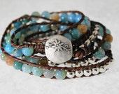 Aqua Blue Wrap Bracelet beaded leather wrap boho chic