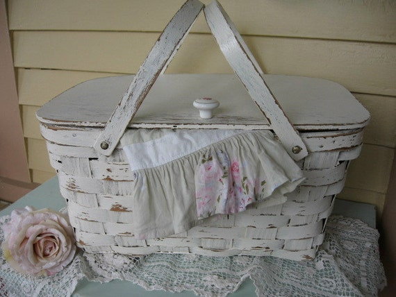 Shabby Chic Vintage Picnic Basket With Handles French Country
