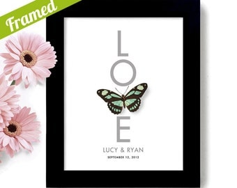 Butterfly Wedding Gift Modern Wedding Present for Couple Love Art Unique Engagement Gift for Bride Personalized Art Print Bridal Shower Gift