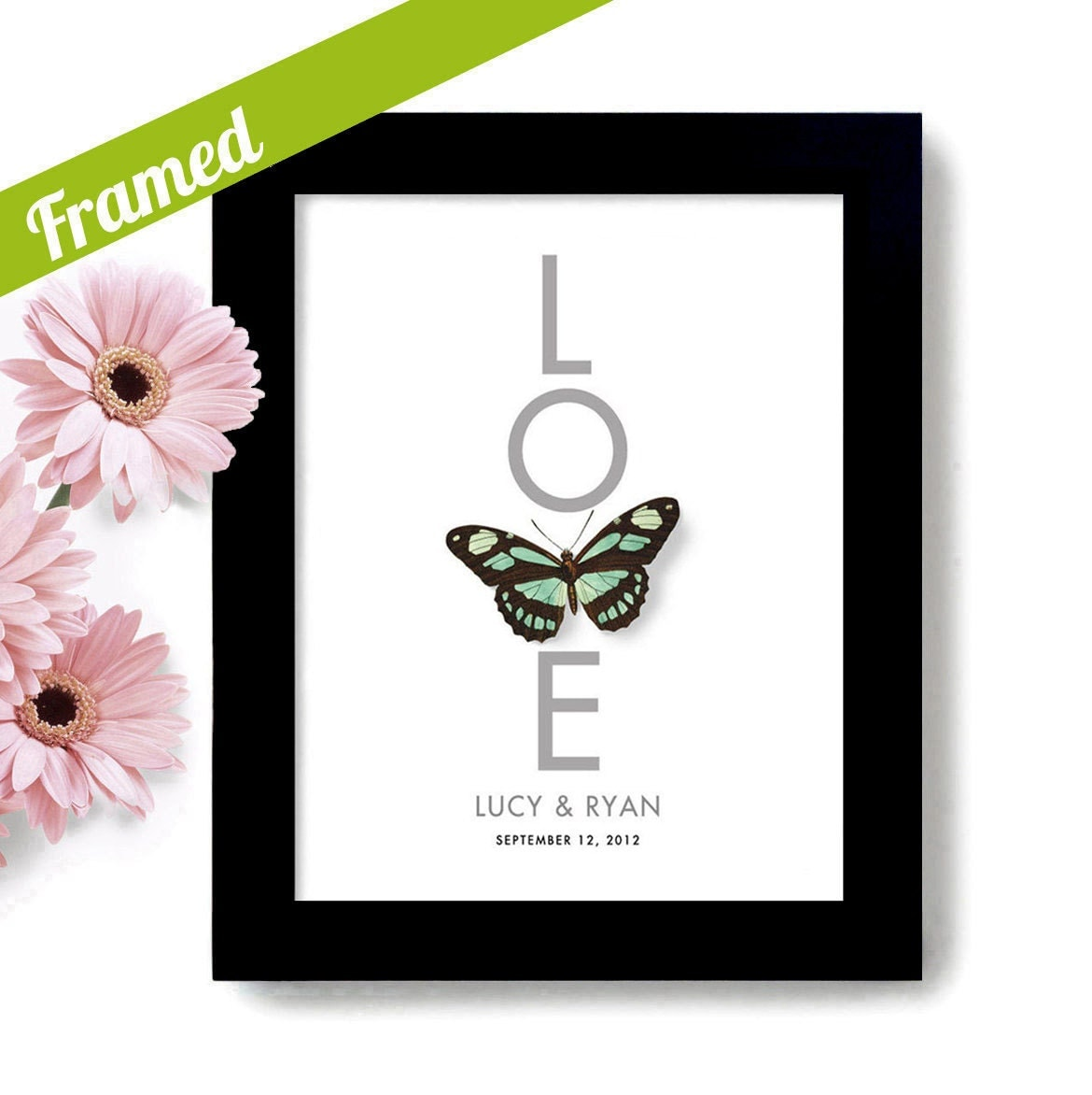Butterfly Framed Wedding Gift for Couple Unique by DexMex on Etsy