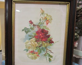 Antique Catherine Klein Framed Print Cabbage ROSES Signed FREE Shipping