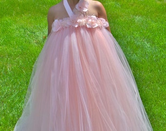READY TO SHIP:  Flower Girl Tutu Dress - Blush - Rose Petal Pizzazz - 5-6 Youth Girl - Cutie Patootie Designz