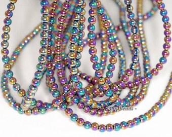 4mm Titanium Rainbow Hematite Gemstone Rainbow Round 4mm Loose Beads 16 inch Full Strand (90191592-148)