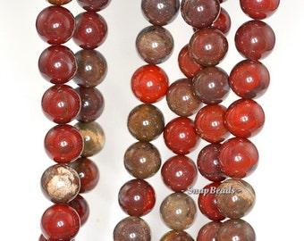 10mm Red Breccia Jasper Gemstone Brown Round 10mm Loose Beads 15.5 inch Full Strand (90148716-242)