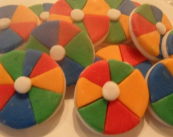 Fondant Beach Balls Cupcake Toppers