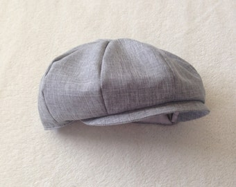 Baby boy hat, boys newsboy, baby newsboy cap, baby ring bearer, suiting hat, heather gray hat, heather ring bearer,