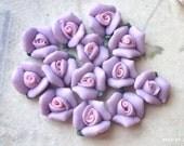 8 mm Light Purple Color Tiny Flat Back Porcelain Roses (.tm)